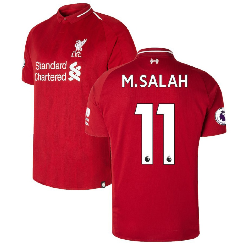 Majestic Athletic Mohamed Salah #11 Liverpool Men's 201819 Red Home Jersey, large