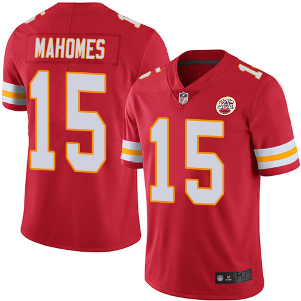 Majestic Athletic Men's Kansas City Chiefs Patrick Mahomes II #15 Red Stitch Jersey
