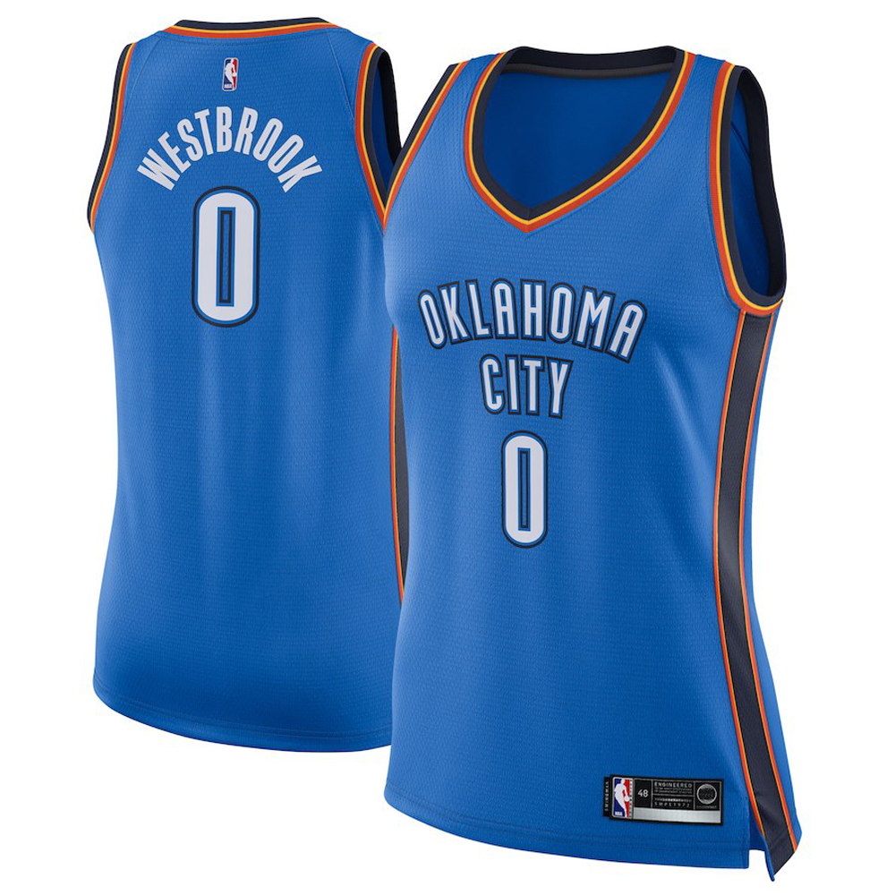 Majestic Athletic Russell Westbrook #0 Oklahoma City Thunder Women's Swingman Jersey Blue