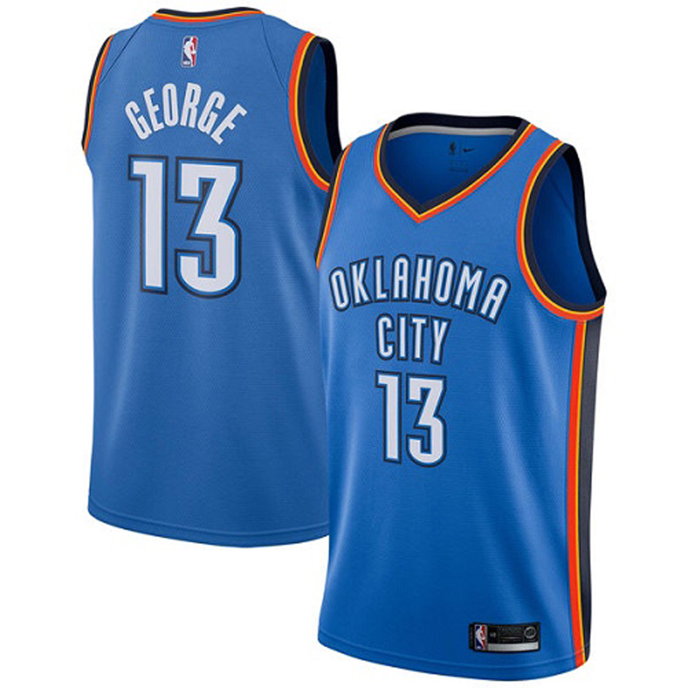 Majestic Athletic Paul George #13 Oklahoma City Thunder Women's Jersey Royal Blue