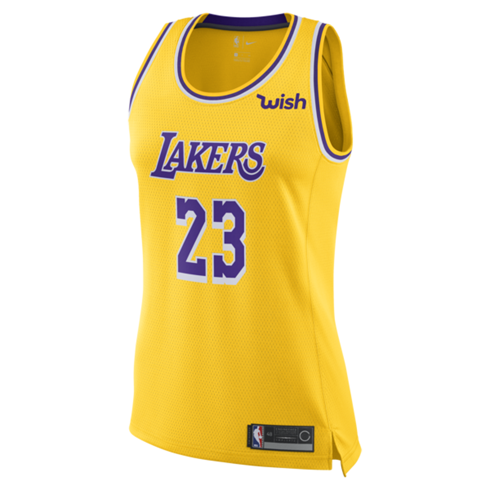 Majestic Athletic LeBron James #23 Los Angeles Lakers Women's Jersey yellow