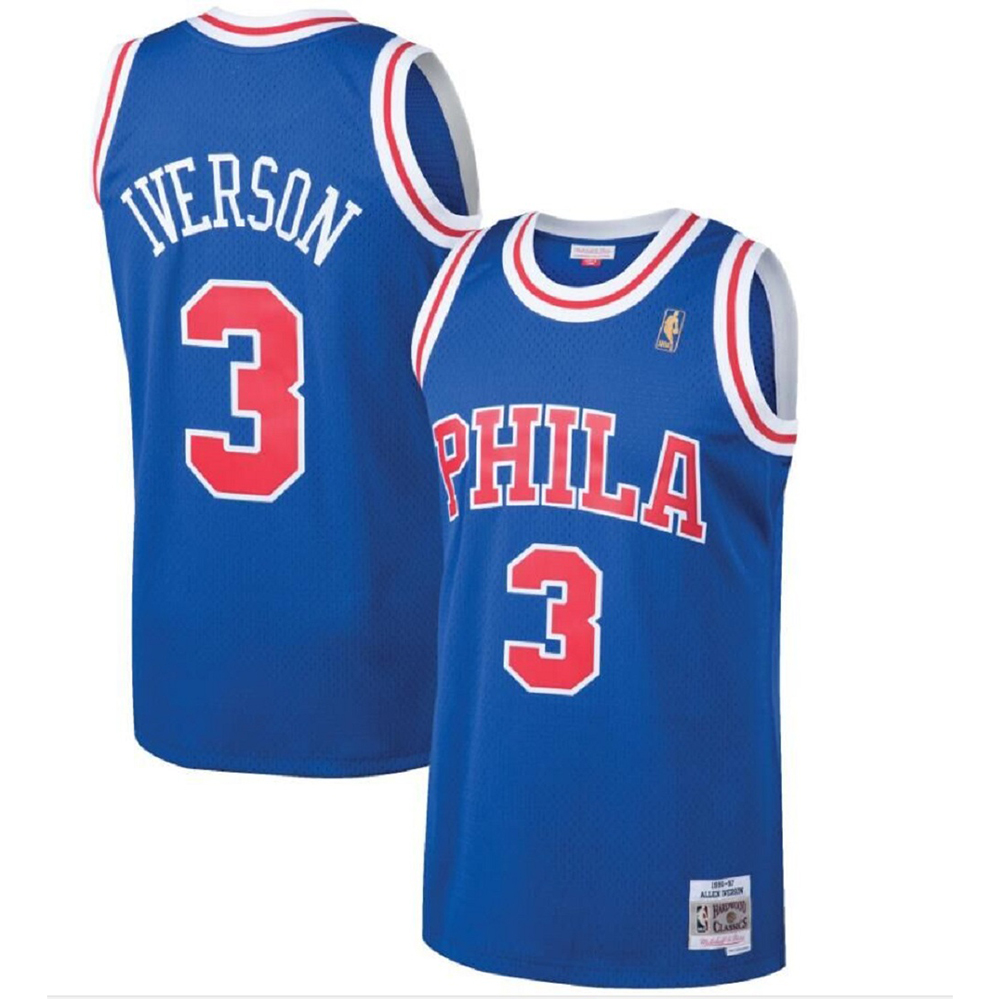Majestic Athletic Allen Iverson #3 Philadelphia 76ers 1996-97 Hardwood Classics Men's Royal Swingman Jersey