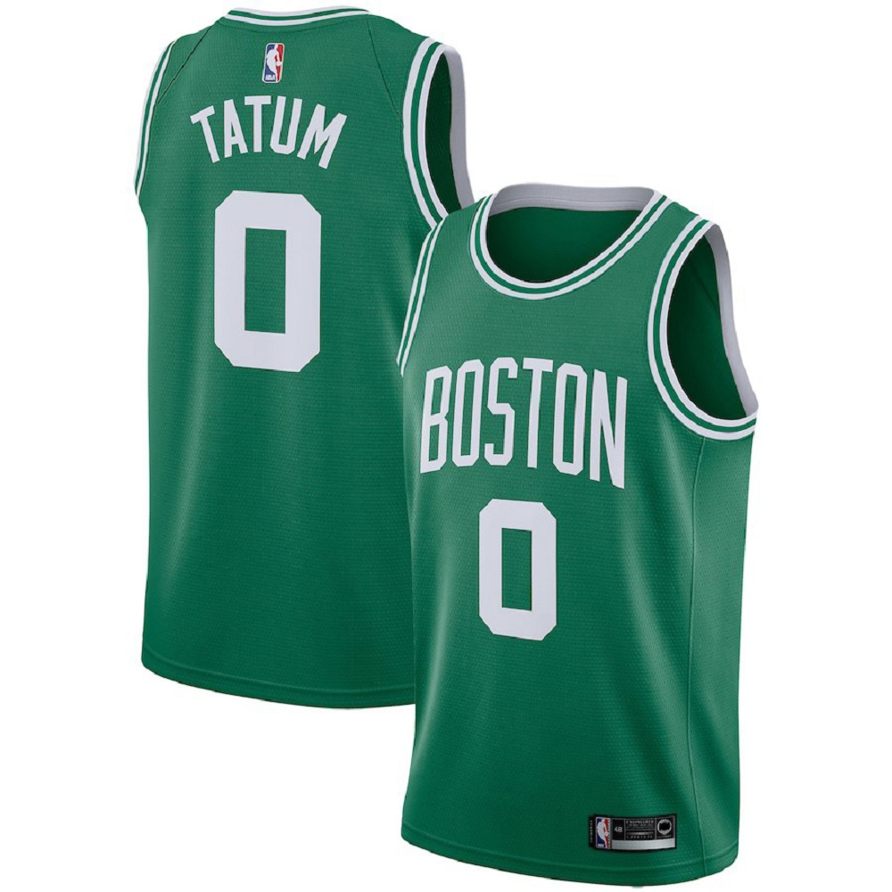 Majestic Athletic Boston Celtics #0 Jayson Tatum Men's Swingman Jersey Green