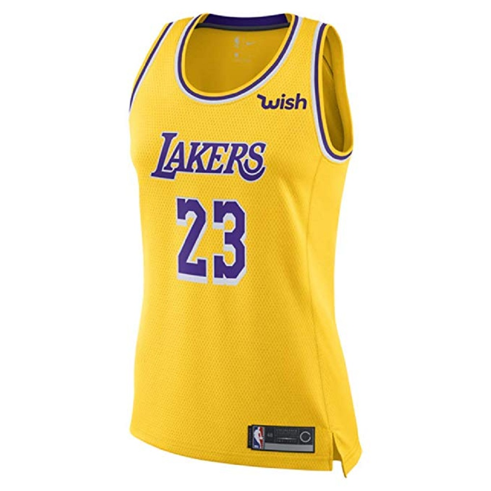 Majestic Athletic Lebron James #23 Women's Los Angeles Lakers Swingman Jersey Yellow