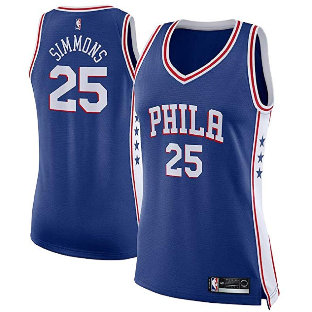 Majestic Athletic Philadelphia 76ers Royal Ben Simmons #25 Women's Swingman Jersey