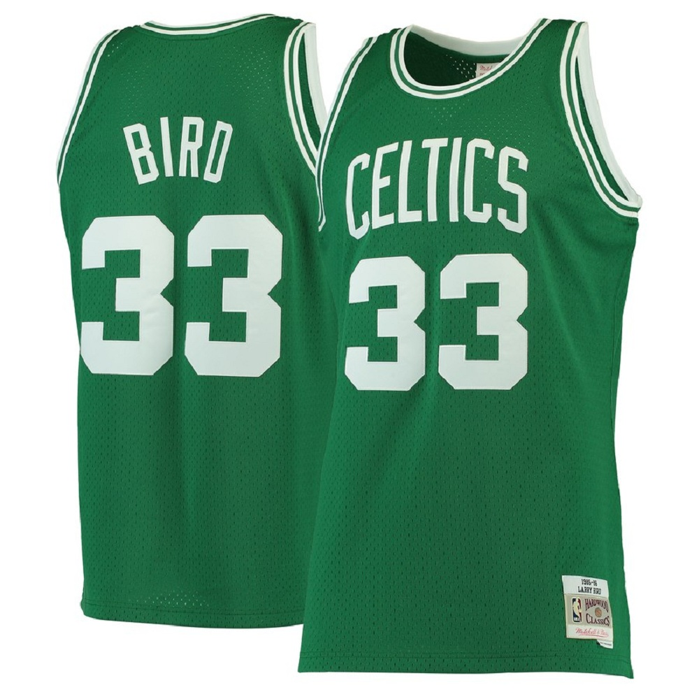 Majestic Athletic Larry Bird Kelly Green Boston Celtics 1985-86 Men's Hardwood Classics #33 Swingman Jersey