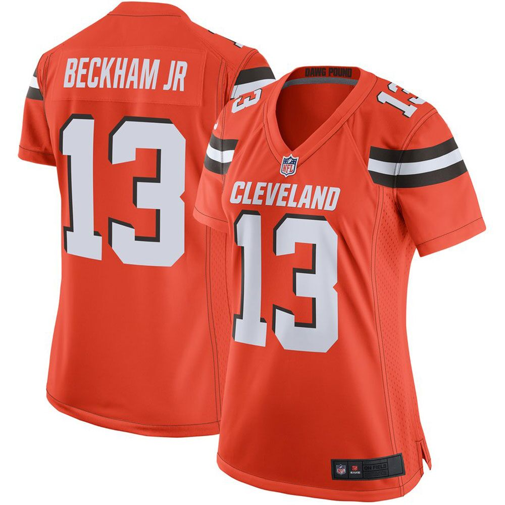 Majestic Athleticc Odell Beckham Jr Women's Cleveland Orange 13# Limited Stitch Jersey