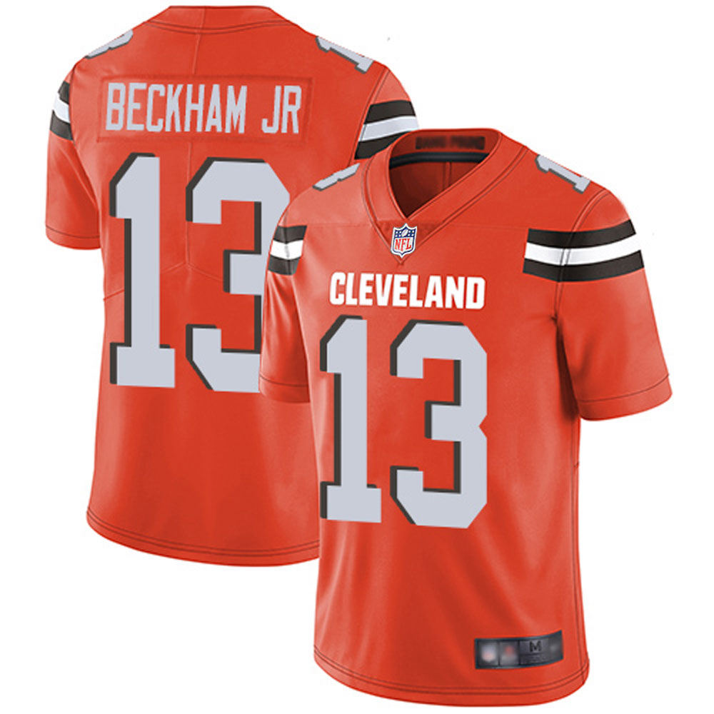 Men's Cleveland Browns Odell Beckham Jr 13# Orange Limited Stitch Jersey