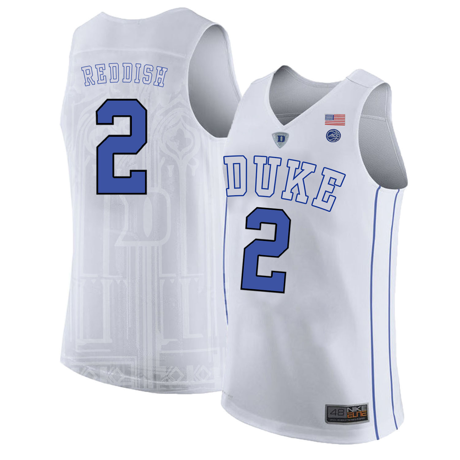 Majestic Athletic Men??s Duke Blue Devils #2 Cam Reddish White College Basketball Jersey