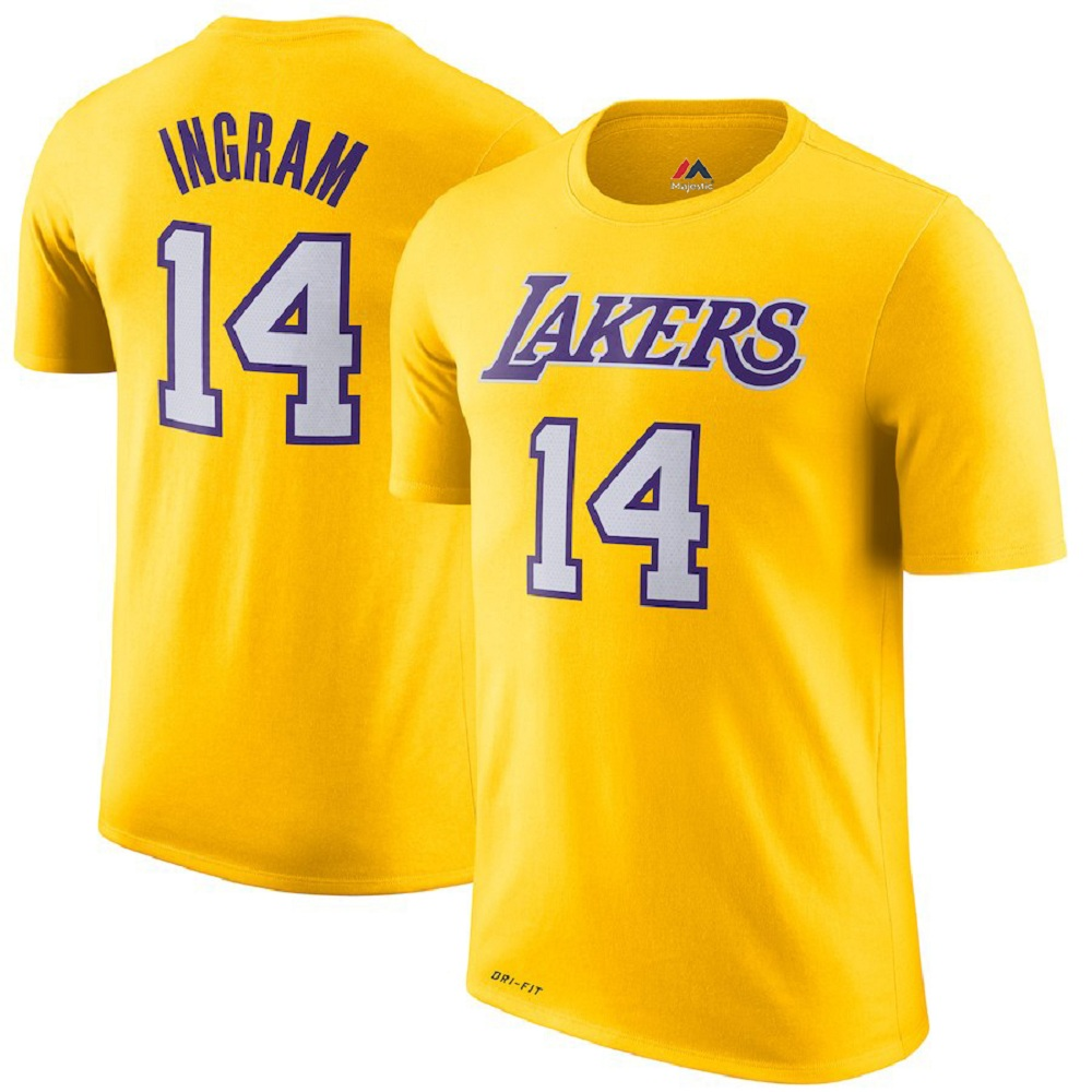 Majestic Athletic Brandon Ingram Men's Gold #14 Los Angeles Lakers Jersey T-shirt