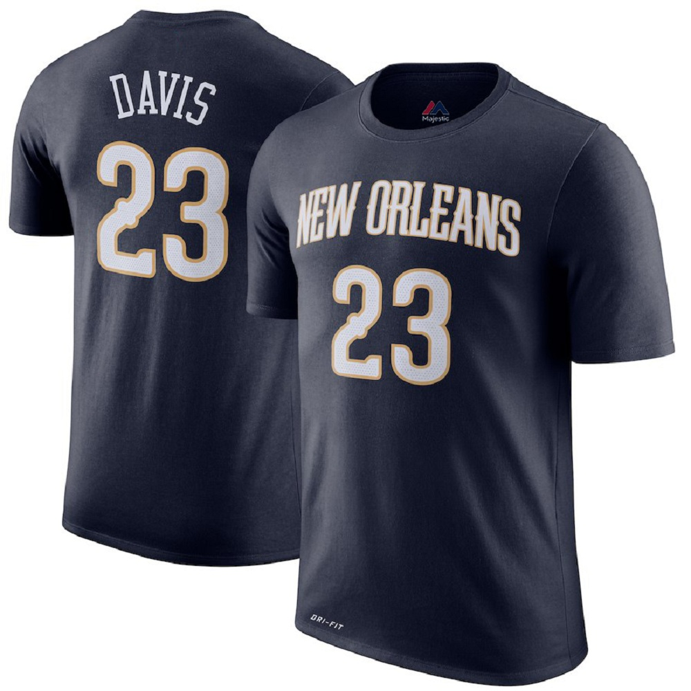 Majestic Athletic Men's #23 Anthony Davis New Orleans Pelicans Jersey T-shirt-Navy