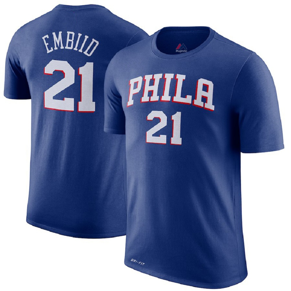 Majestic Athletic Joel Embiid Philadelphia 76ers Royal #21 Men's Jersey T-Shirt