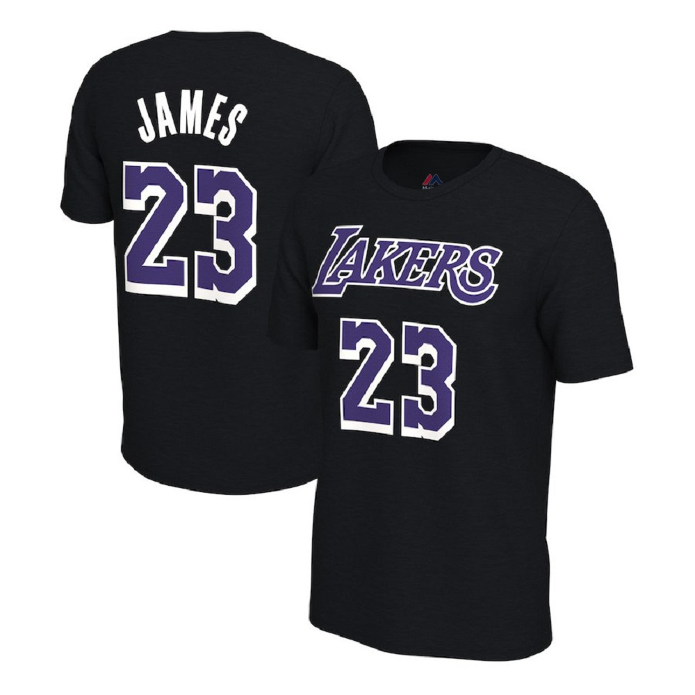 Majestic Athletic Men's LeBron James #23 Los Angeles Lakers Black Jersey T-Shirt