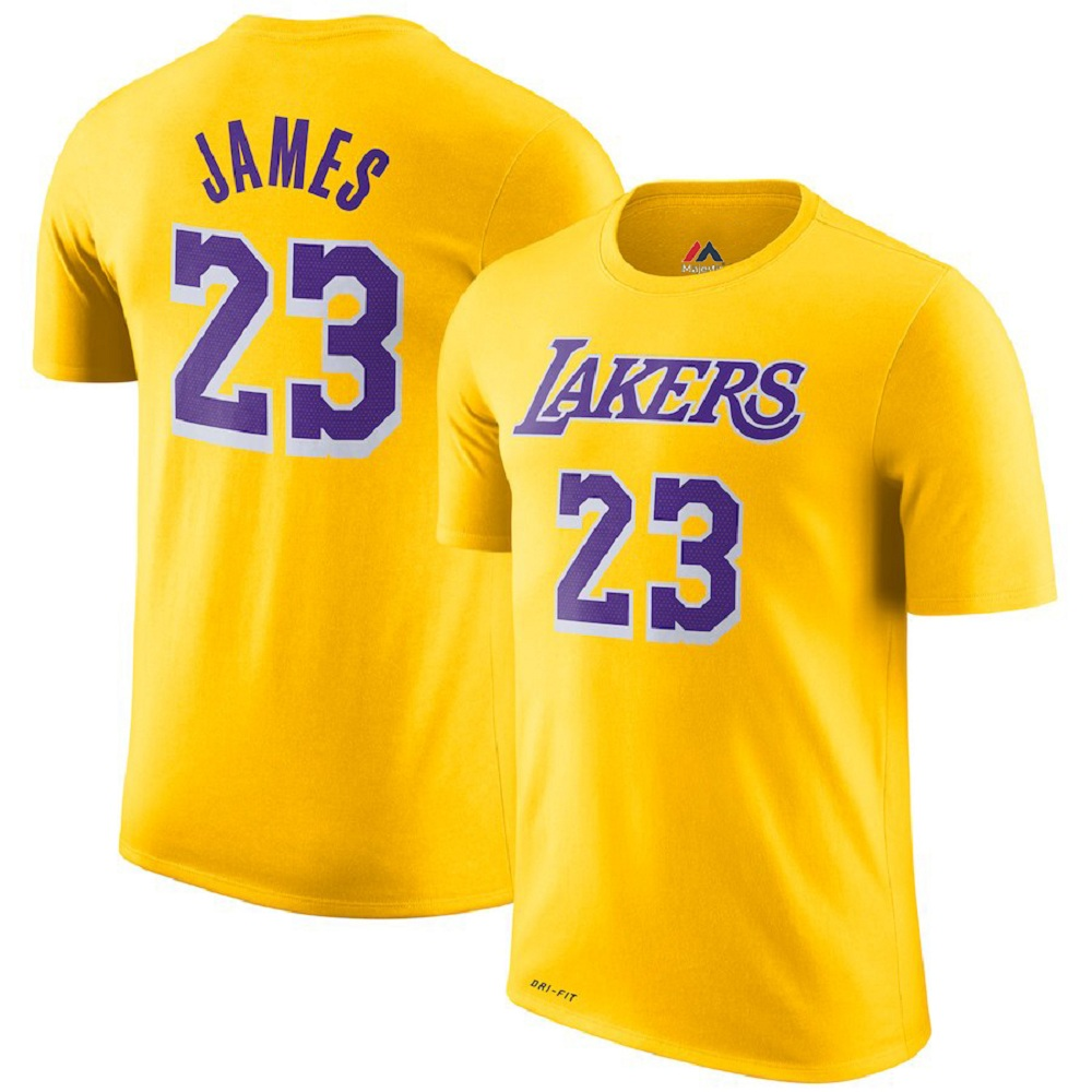 Majestic Athletic Men's LeBron James #23 Los Angeles Lakers Gold Jersey T-Shirt