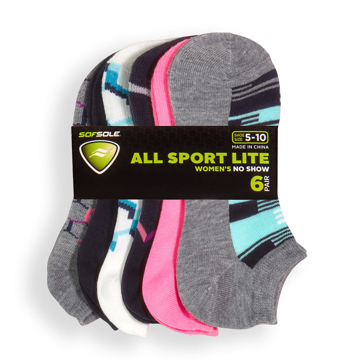Sof Sole Womens 6 Pack Glitch Variety Socks
