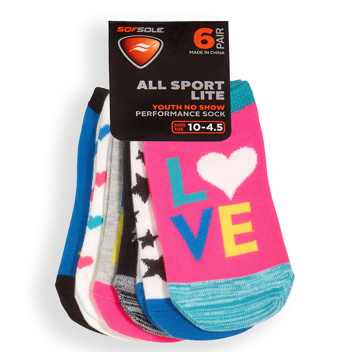 Sof Sole Youth 6 Pack Verbiage Socks