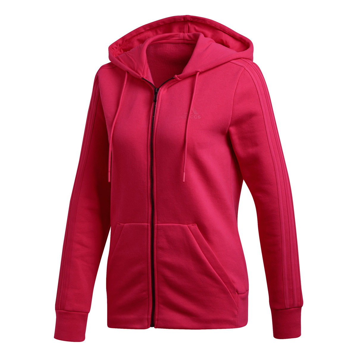 adidas 3 Stripes Womens Fleece Full Zip Hoodie