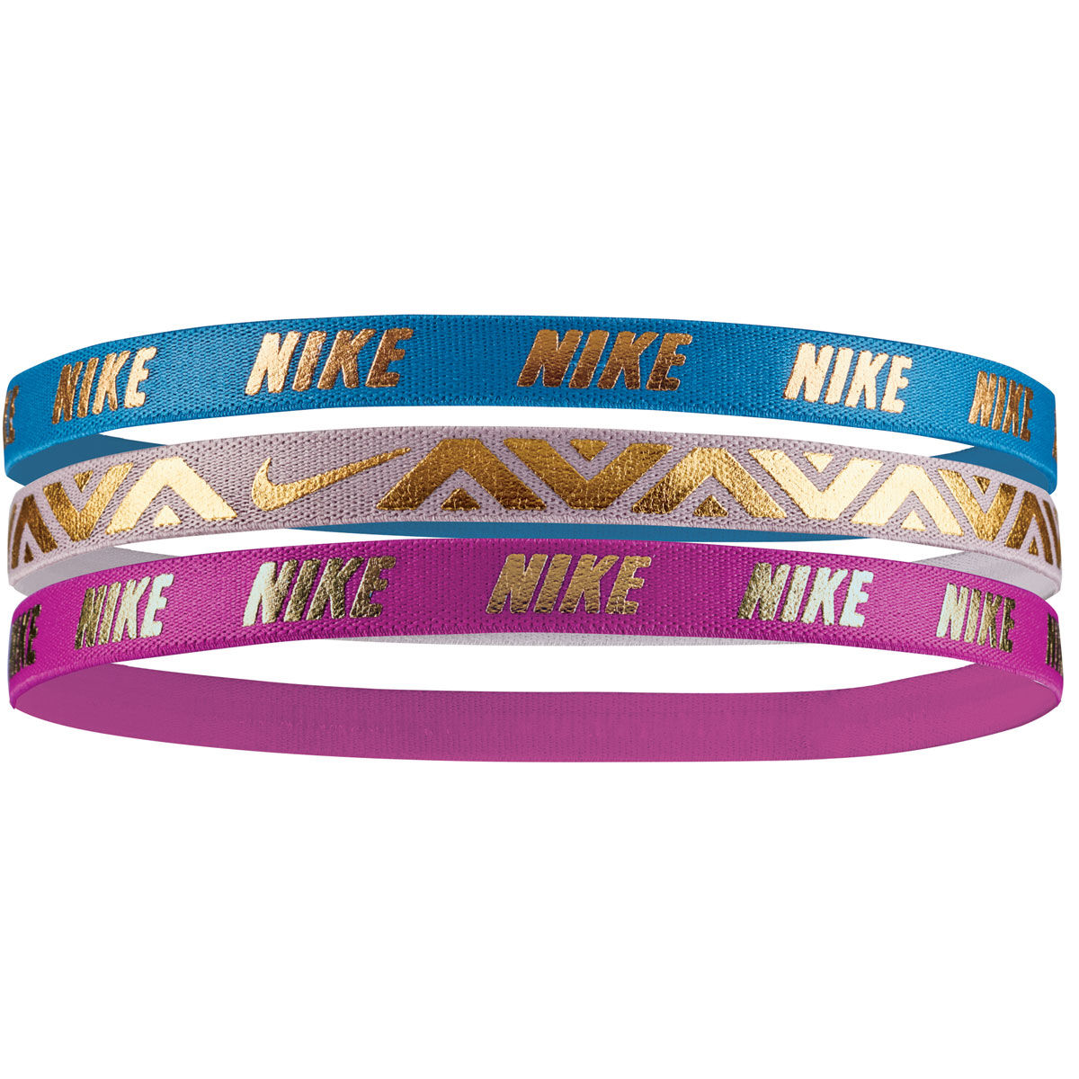 Nike Girls 3 Pack Metallic Headbands