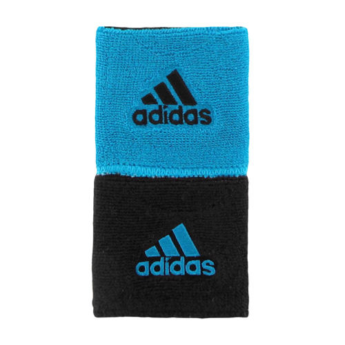 adidas Interval Blue/Black Reversible Wristbands