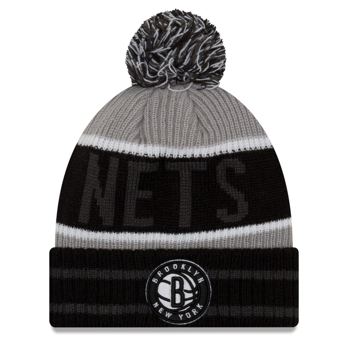 Brooklyn Nets Adult Banner Block Pom Knit Hat