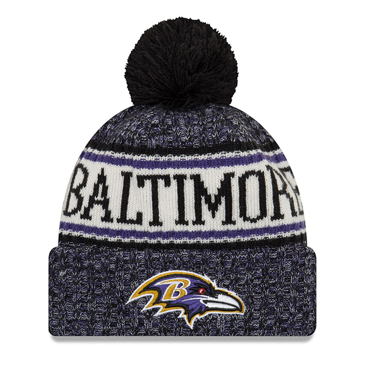 Baltimore Ravens Adult 2018 Pom Knit Hat