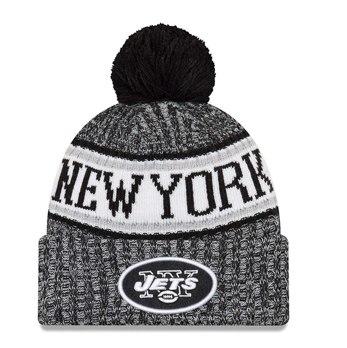New York Jets Adult 2018 Sideline Pom Knit Hat