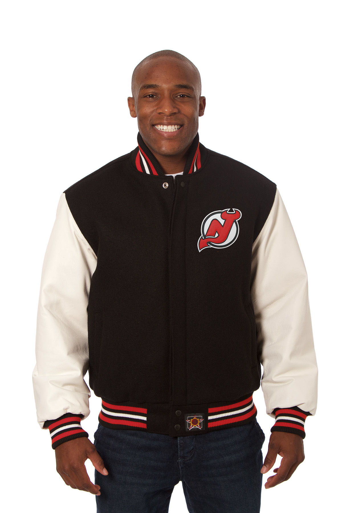 New Jersey Devils Adult Wool Leather Jacket