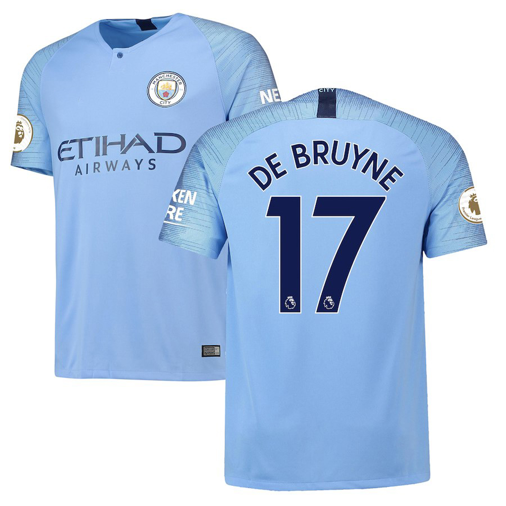 Majestic Athletic Manchester City Men's Kevin De Bruyne #17 2018/19 Home Blue Jersey