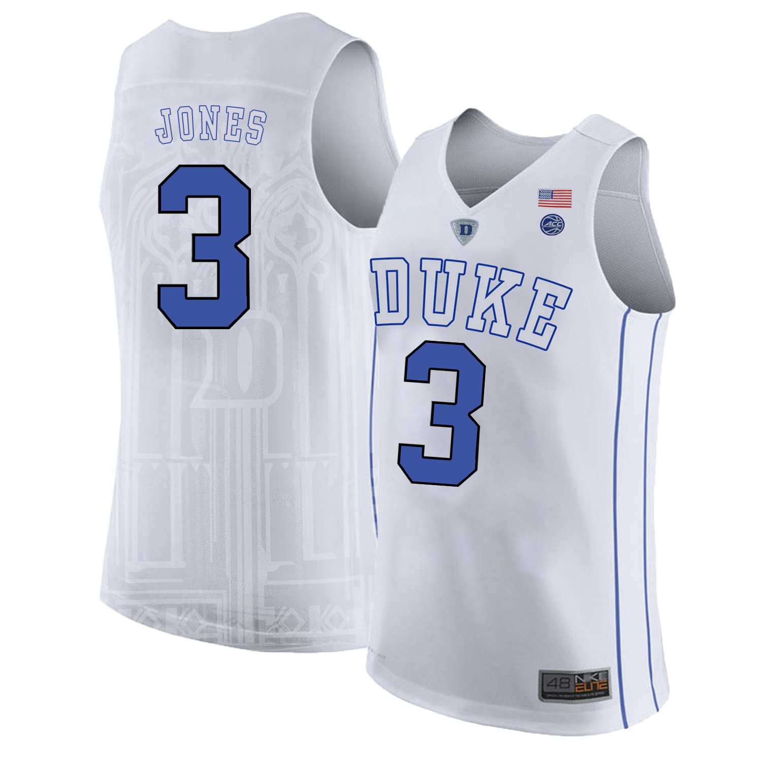 Majestic Athletic Men??s Duke Blue Devils #3 Tre Jones White College Basketball Jersey
