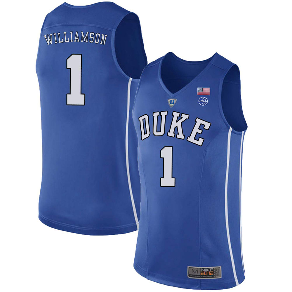 Majestic Athletic Men's Zion Williamson #1 Duke Devils College Blue Basketball Stitched Jersey