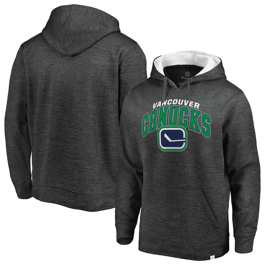 Men's Fanatics Branded Heathered Gray/White Vancouver Canucks Steady Fleece Pullover Hoodie