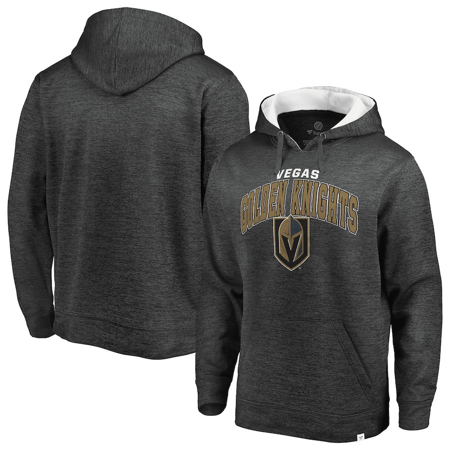 Men's Fanatics Branded Heathered Gray/White Vegas Golden Knights Steady Fleece Pullover Hoodie