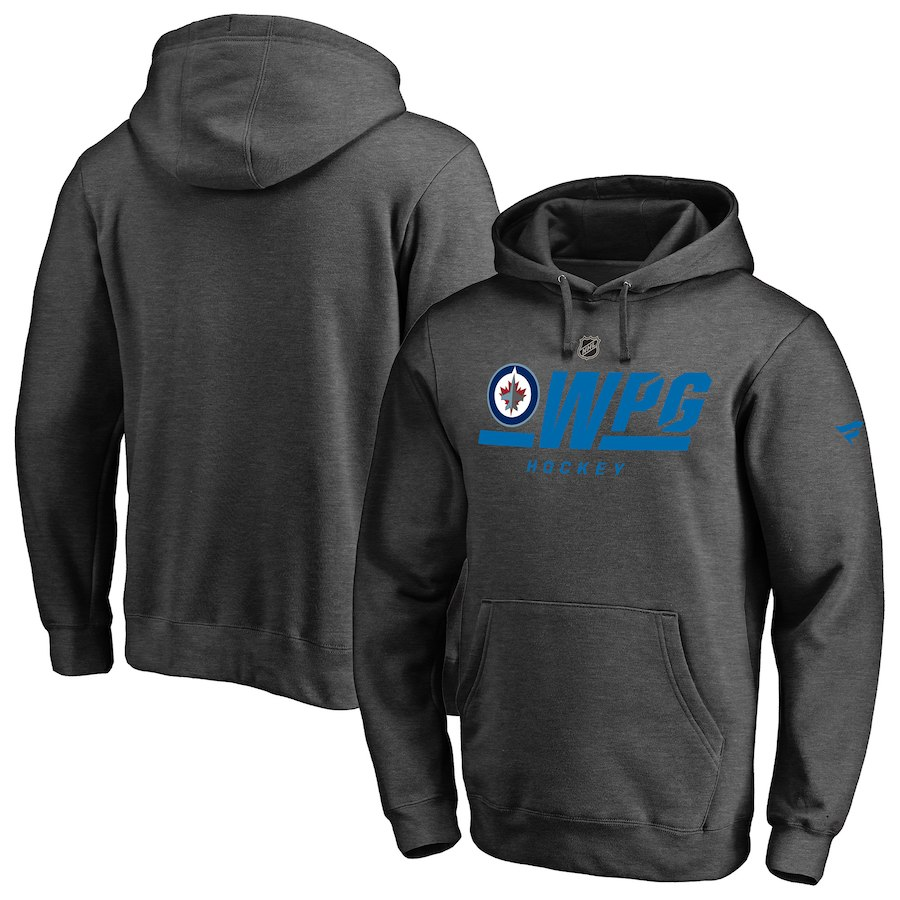 Men's Fanatics Branded Gray Winnipeg Jets Authentic Pro Tri-Code Pullover Hoodie