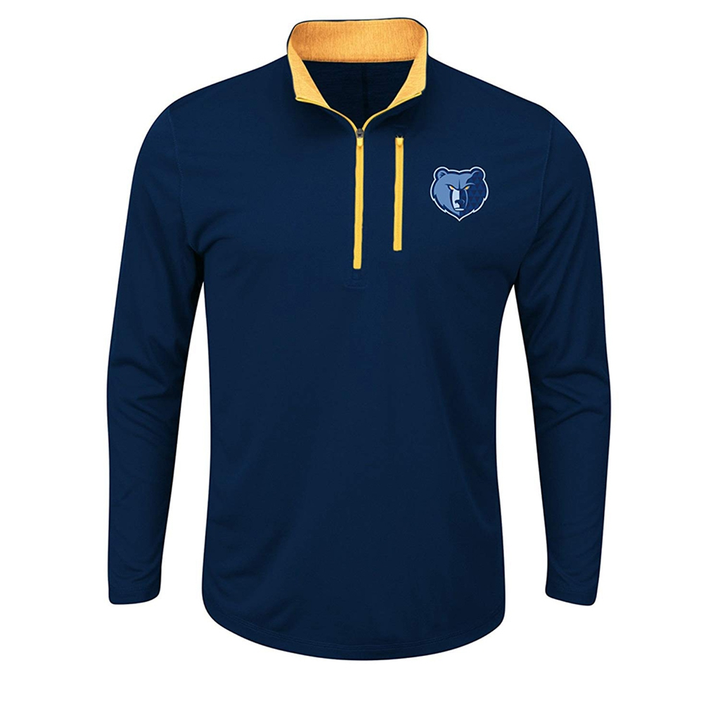 VF LSG NBA Memphis Grizzlies Men's Exclamation Points Long Sleeve 1/2 Zip Mock-Neck Tee, XX-Large, Athletic Navy/Navy Zephyr Heather/Yellow Gold Zephyr Heather/Yellow Gold
