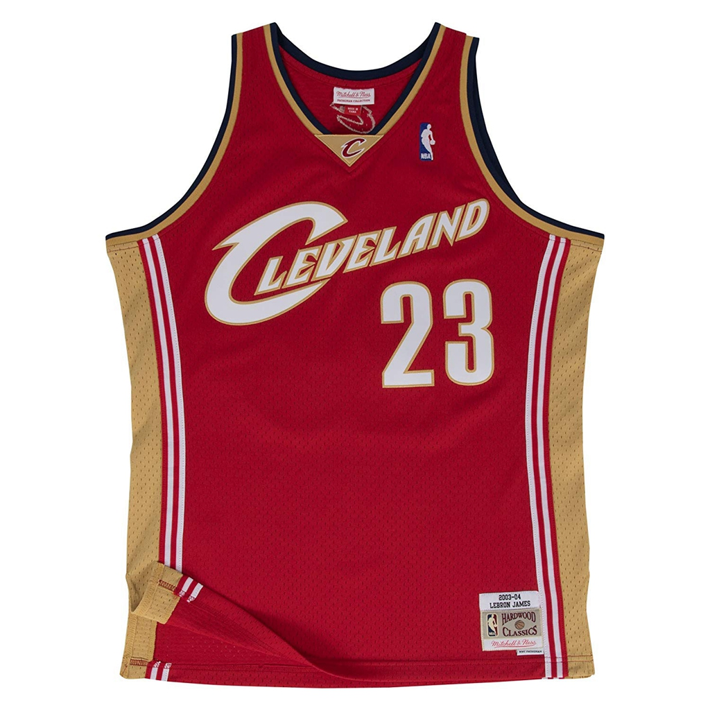 Lebron James Cleveland Cavaliers Mitchell and Ness Men's Red Throwback Jesey